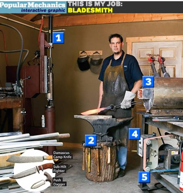 Bladesmith Burt Foster.  Photo by Popular Mechanics.