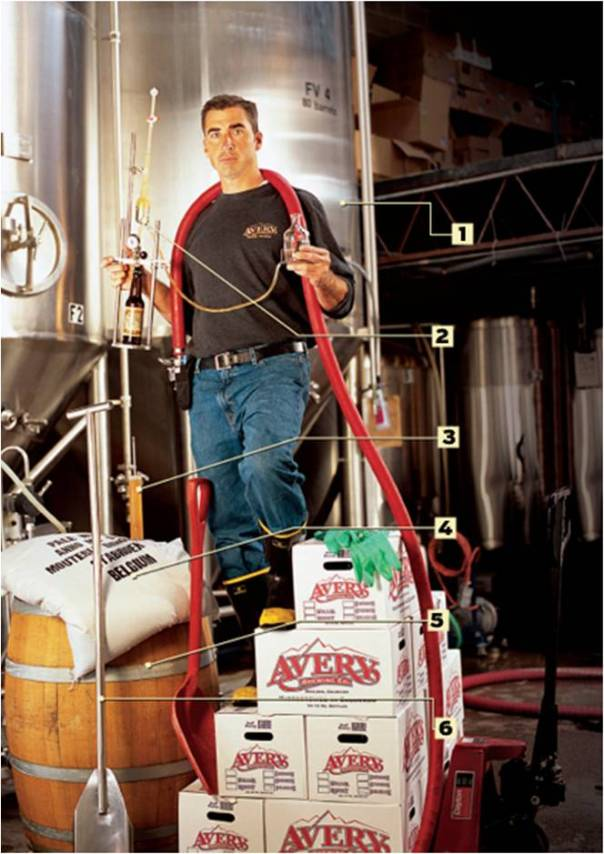 Adam Avery with his brewing equipment.  Photo by Popular Mechanics.